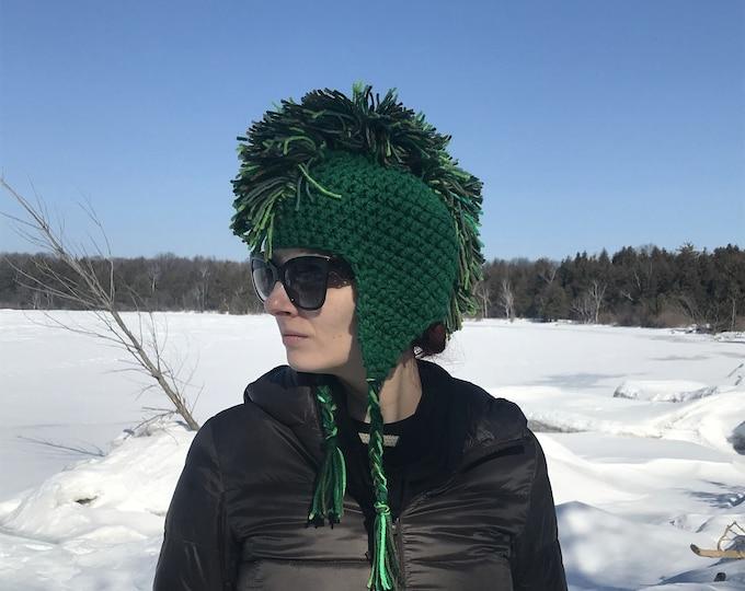 Green Mohawk Ear Flap Warm Ski Hat Handmade Crochet Boyfriend Gift Statement Knits