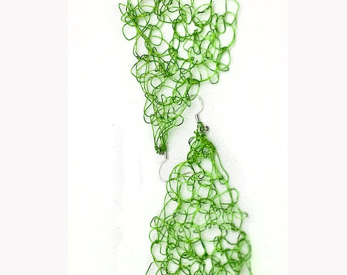Green Wire Triangle Earrings Crochet  Elegant Stocking Stuffer Ready to ship Gift For Women Girls and Teens