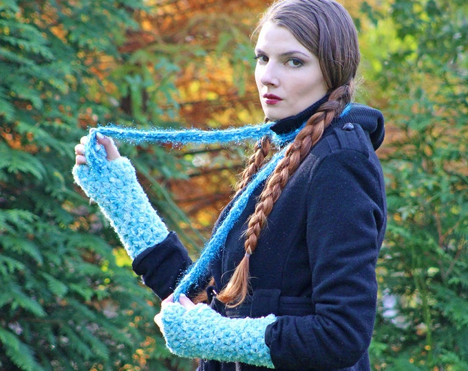 Gloves & Skinny Scarf  Set Soft Blue Fingerless  Long Soft Accessory Christmas Gift for Girls, Teens or Women Ready to Ship