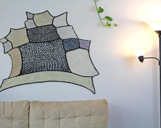 Tissage Mural Black & White Patch Asymmetrical Tapestry Wall Hanging Handmade Gift Interior Home Decor  Crochet Knit Ready to ship Christmas