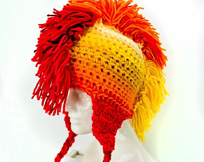 Sun Burst Yellow Orange and Red Fade Mohawk Ear Flap Hat Handmade Christmas Boyfriend Gift Ready to ship Trapper Cap Toque