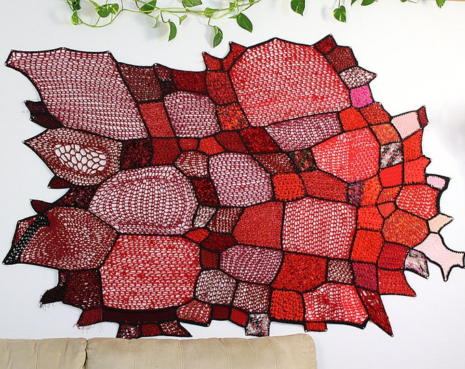 Red Ombre Wall Hanging Art Tapestry Crochet Patches Asymmetrical Gradient Tissage Mural Handmade  One of a Kind Home Decor Crochet Gift