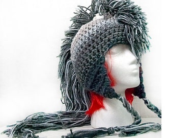 Extreme Long Gray Ombre Tones  Mohawk Hat Handmade Christmas Gift Ready to ship