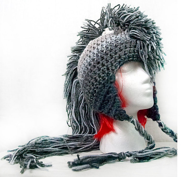 Extreme Long Gray Ombre Tones Mohawk Hat Handmade Christmas  73d47b6bc3a
