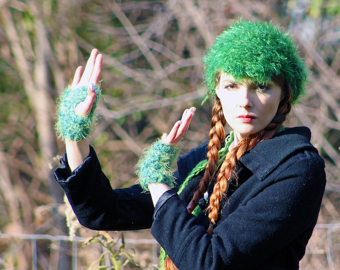 Scarf and Fingerless Texting Glove Set Sparkly Green Newsboy Beanie Tam Hat Skinny  Fuzzy Soft Billed Rasta Long Gift for Girls Teens  Women