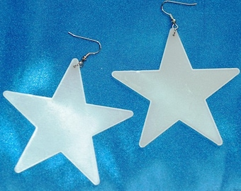 Glowing Star Earrings  Medium size Celestial Outer Space Astronomy Statement Earrings