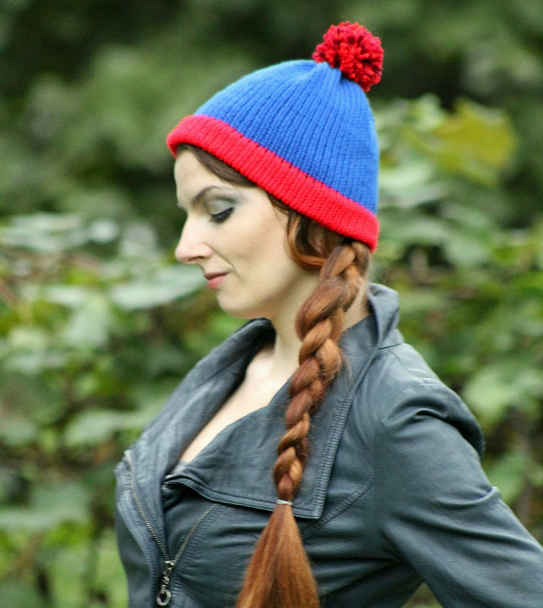 f435df90c60 Stan Marsh Blue and Red POm POm Handmade Knit Hat Costume