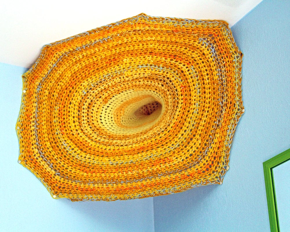 Portal Wall Fiber Wall Art Sculpture Yellow and Orange Ombre Hanging ...