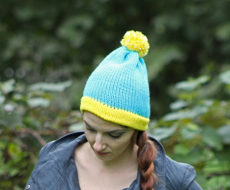 0259fc5ff45 Cartman Hat Teal and Yellow Pom Pom ready to ship Cartoon