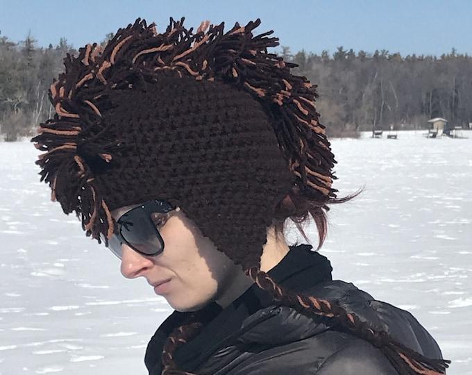 Brown Mohawk Earflap Hat Crochet Handmade Boyfriend Gift