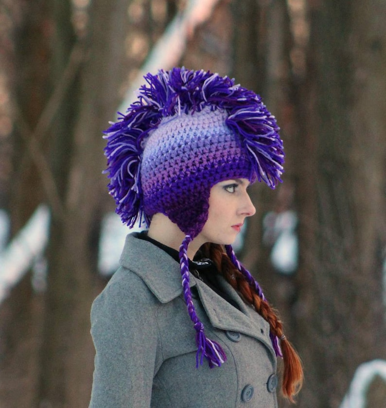 8dbf6a287 Purple Ombre Mohawk Ear Flap Hat For Winter Perfect Gift