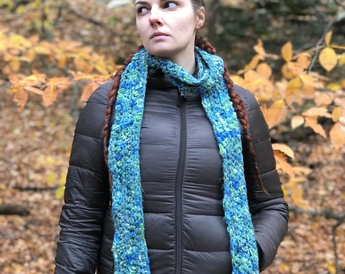 Blue Scarf Teal Soft Neckwarmer Handmade Crochet Gift Ready to ship