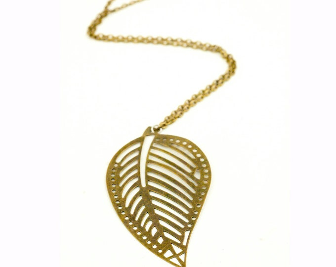 Leaf Charm Necklace Large Leaves Bronze Nature Charm Gift