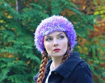 Purple and Pink Fuzzy Slouch Tam Hat Billed Newsboy Beanie Girls Winter Hat Great Handmade Christmas Gift for Granddaughter girl