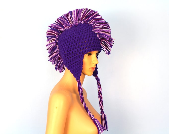 Purple Mohawk Earflap Hat with Tassels And Faux Hair Ready to Ship Gift for Teens Girls and Women