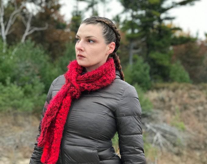 Red Fuzzy Scarf Yarn Crochet Handmade Neck Warmer