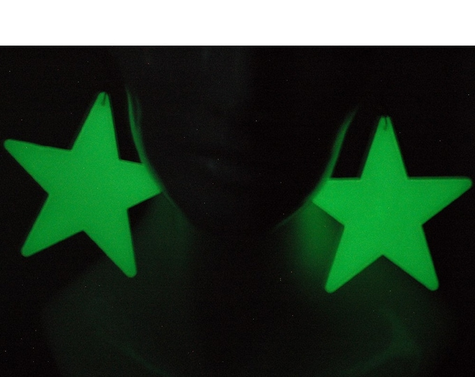 Glowing Star Earrings Large Size Raver Cyber Jewelry  Handmade Christmas Gift Patriotism Fun Gift For Fireworks Ready to Ship Statement
