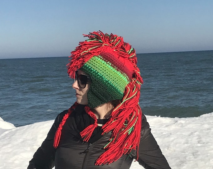 Christmas Hat Green and Red Ombre Mohawk Hat Extreme Style boyfriend gift Warm Winter Trapper Girlfriend Present