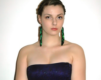 Green Beetle Wing Earrings Bridal or Prom Jewelry Super Long Dangle Perfect Gift for Her Under 30