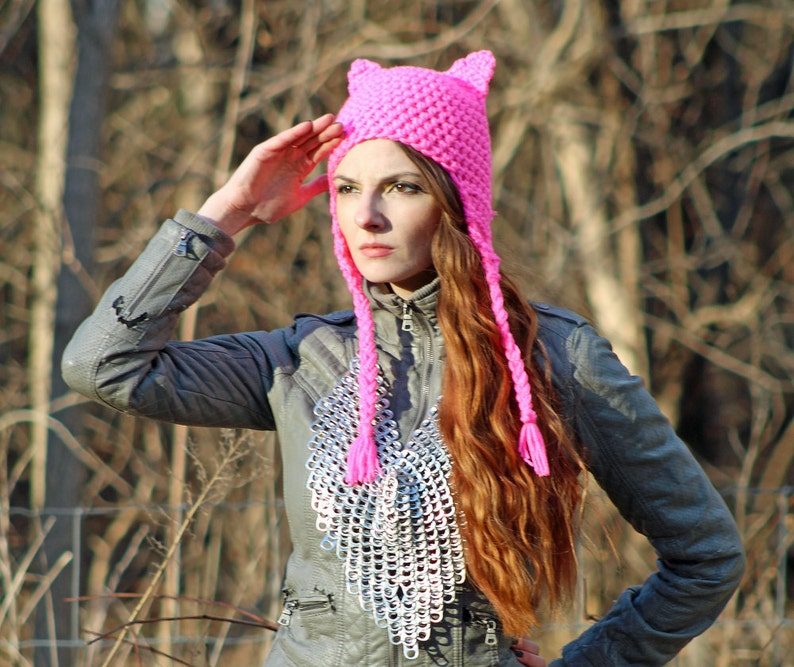 Political Liberal Politics Pink and Purple Ombre Mix Pussy Cat Kitten Hat Hot Pink Fox Ear EarFlap Hat Support Women/'s March on Washington