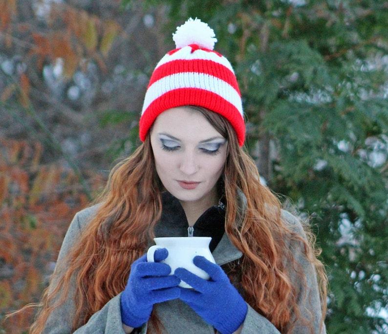 c28200522cc Peppermint Cap Waldo Beanie Hat Red and White Striped Pom Pom
