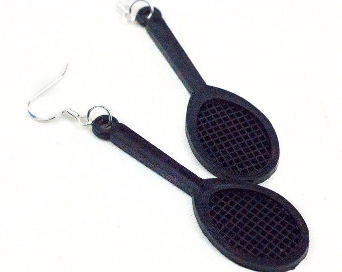 Black Tennis Racket  Earrings or Necklace Set