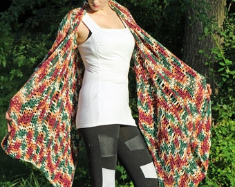 One Sleeved Shawl Red and Rust Crochet Handmade Shawl Unique Asymmetrical Top Sweater Women chic jacket Gift for her