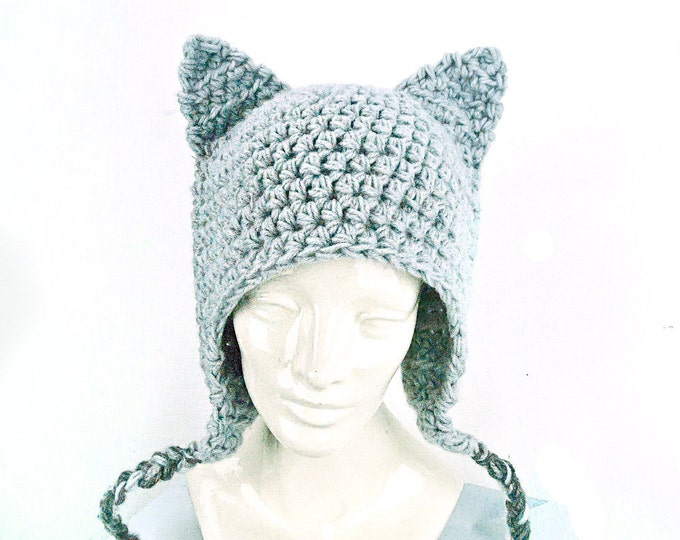 Can't Grab This Pussy! Grey Kitten Ears -EarFlap Hat Women's March on Washington