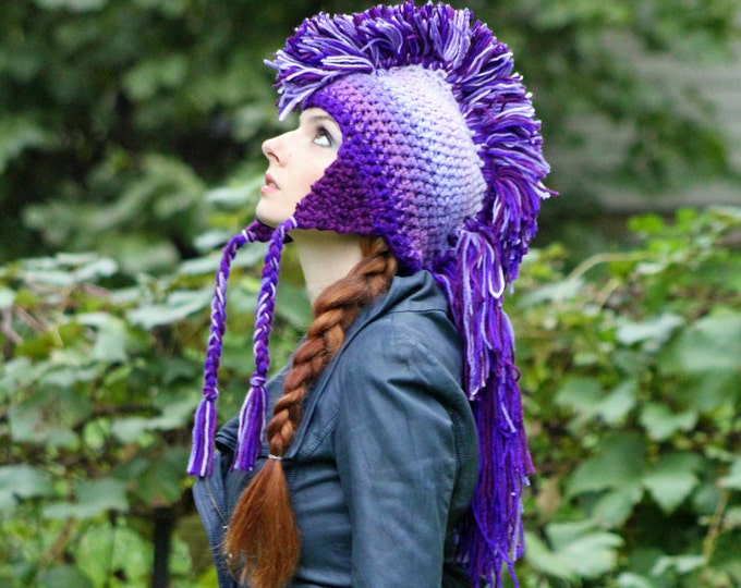 Purple Ombre Mohawk Earflap Hat Extreme Style Unique Handmade Beanie Skull Cap Christmas  Gift