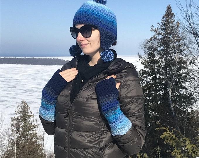 Blue Ombre Fingerless Gloves Handmade Girlfriend Gift Handmade Crochet Ready to ship