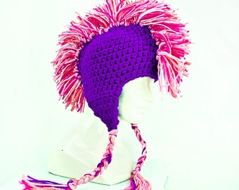 Girl's Purple EarFlap Hat With Hot Pink Mohawk