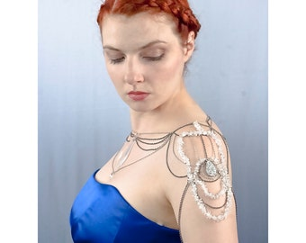 Wedding Jewelry Shoulder Chain Necklace with Crystal Quartz