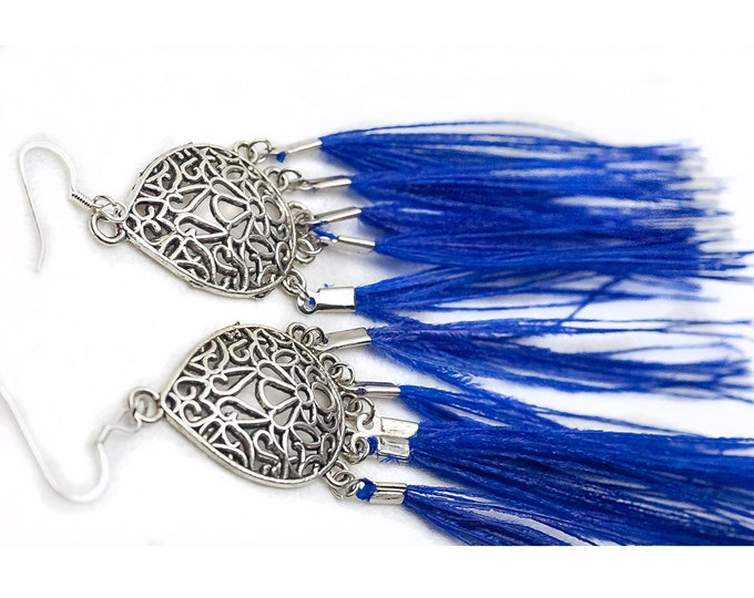 Flowing Chandelier Blue Peacock Feather Earrings Girlfriend Gift Ready To Ship