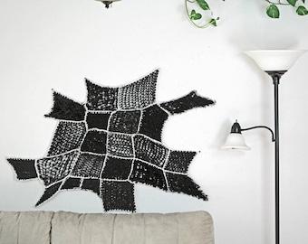 Modern Fiber Art Black White Yarn Tissage Mural Ombre Patch Asymmetrical Tapestry Wall Hanging Handmade Gift Interior Home Decor CrochetKnit