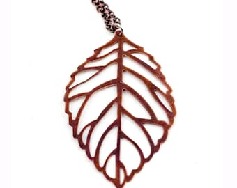 Copper Leaf Charm Necklace Boho Chic Jewelry Music Festival Gear Nature Forest Tree Christmas Gift for Her or Him