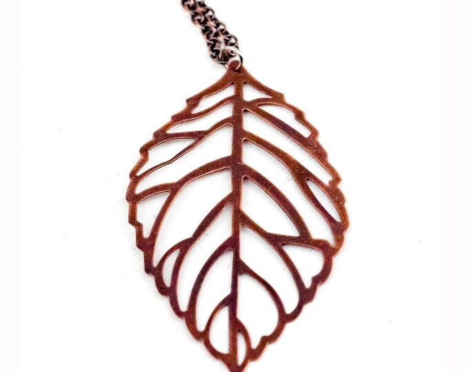 Copper Leaf Charm Necklace Boho Chic Jewelry Music Festival Gear Nature Forest Tree Christmas Gift for Her Girlfriend