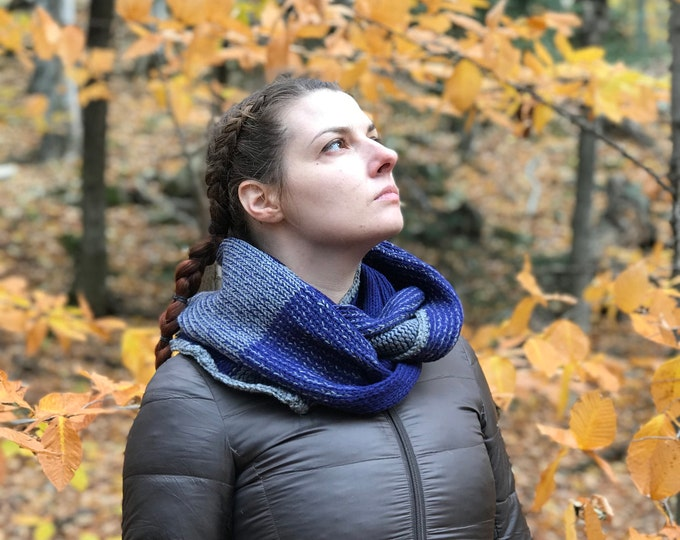Infinity Scarf Blue and Grey Cowl Circle Handmade Christmas Gift Ready to ship