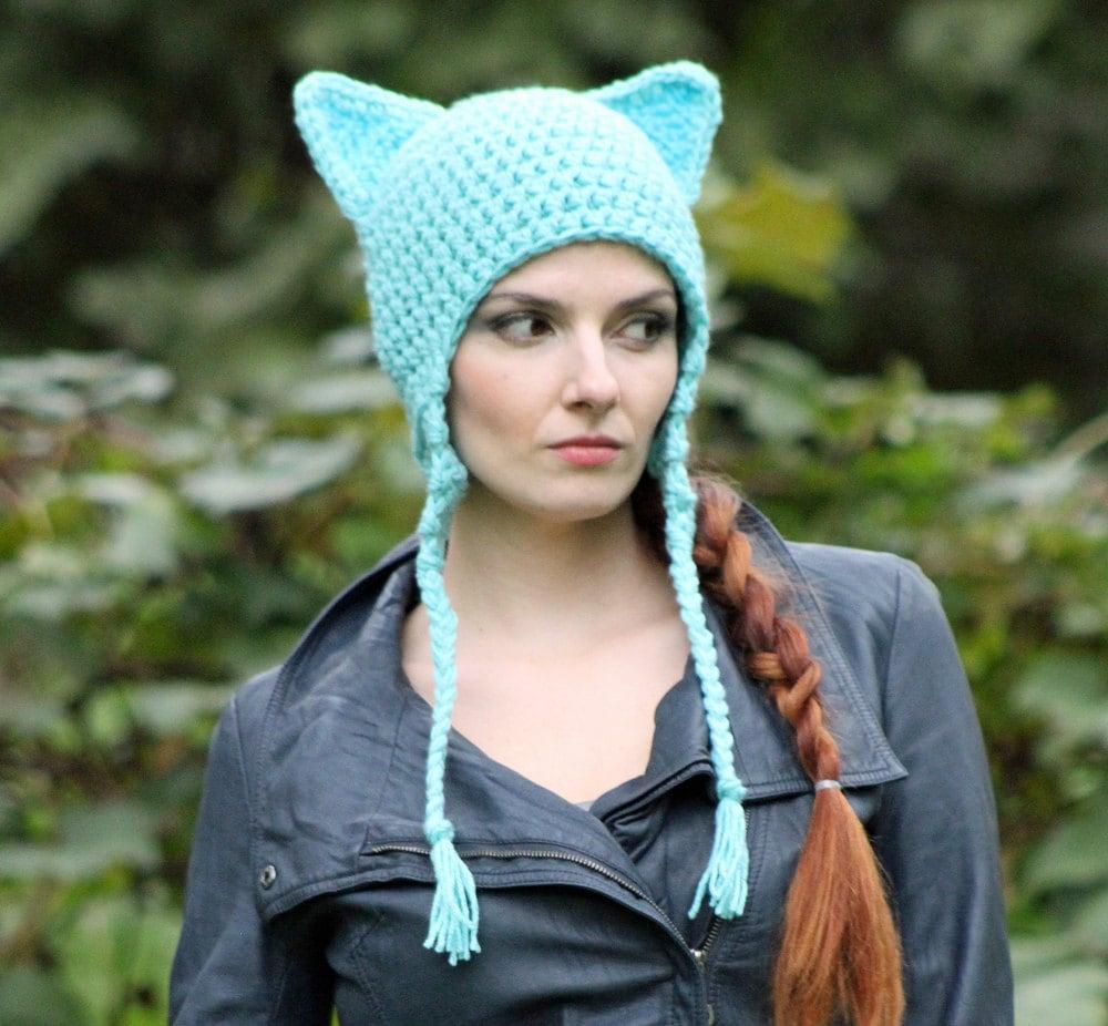 d04fe91d9fa ... Cat Kitten Hat Teal Fox Ear EarFlap Hat Women s March on Washington.  gallery photo ...