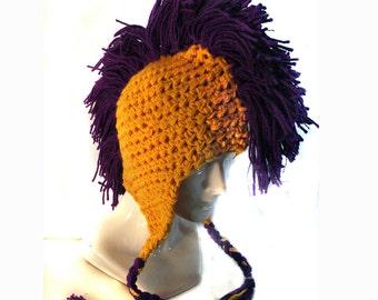 Gold EarFlap Hat With Purple Mohawk