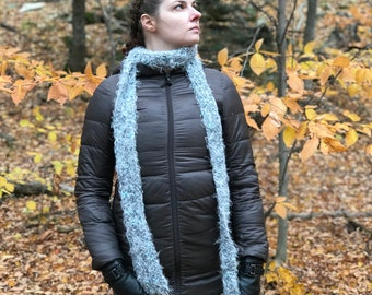 Thick Silver Scarf Fuzzy Grey Neck warmer Cowl
