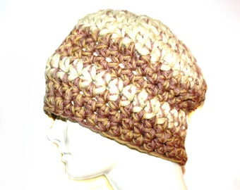 Beige ,Tan and Brown Striped Beanie Hat