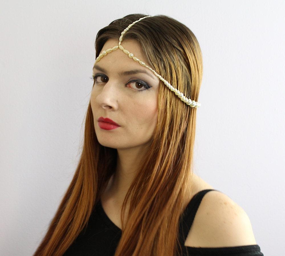 Flapper Pearl Crown Hair Chain Boho Hippie Wedding Bridal Head Dress ...
