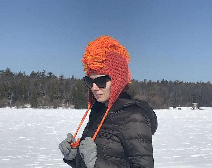 Orange MoHawk Ear Flap Hat For Winter Handmade One of a Kind Boyfriend Gift