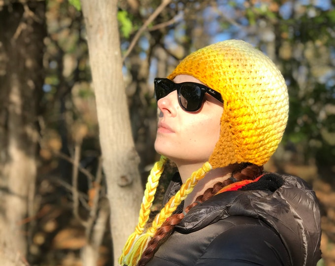 Yellow  Ombre Fade Ear Flap Hat One of a kind Color Gradient Handmade Crochet Gift