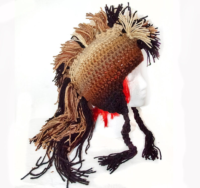 ede304cb9 Brown Tones Ombre Mohawk Hat Long Dark Faux Hair