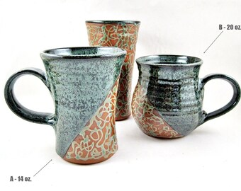 Handmade Pottery Mug in Teal green with Twisted Line Design, Ceramic Coffee Mug - In stock