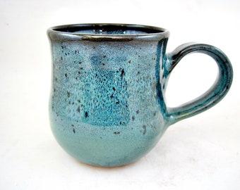 Handmade pottery mug, ceramic coffee mug, large teal blue mug - 23 oz - In stock