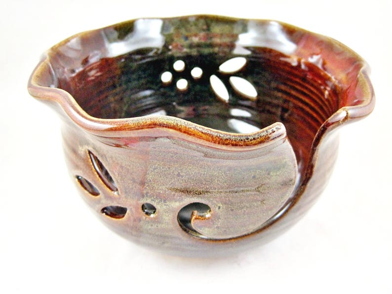 Ceramic yarn organizer In stock Pottery Knitting bowl Large Yarn Bowl