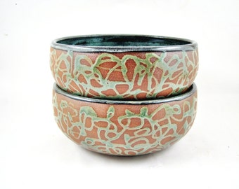 Noodle bowl set, rice bowl set, preb bowls, pottery dishes, handmade dinnerware - In stock