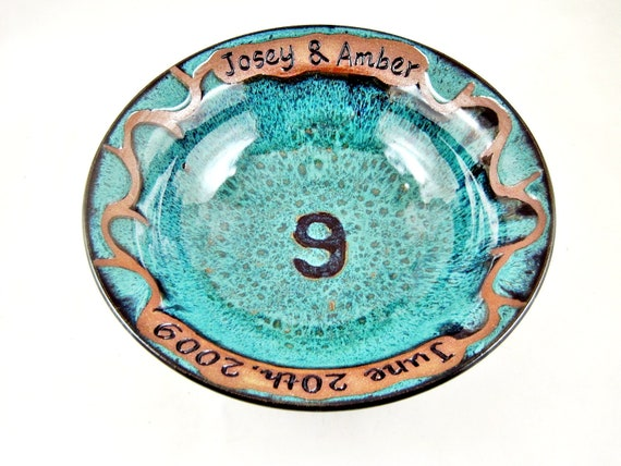 9th Anniversary Pottery For Wedding: Personalized Pottery Anniversary Gift For The 9th Wedding